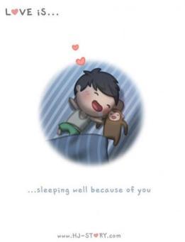 Cinta itu bisa tidur nyenyak karena membayangkanmu.